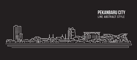 Cityscape Building Line art Vector Illustration design - Pekanbaru city