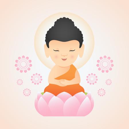 Bouddha mignon assis sur la conception de vecteur de Lotus rose Vecteurs