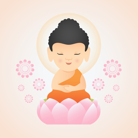 Cute Buddha Sitting On pink Lotus vector design