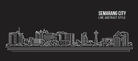 Cityscape Building Line art Vector Illustration design - Semarang city Stock Illustratie