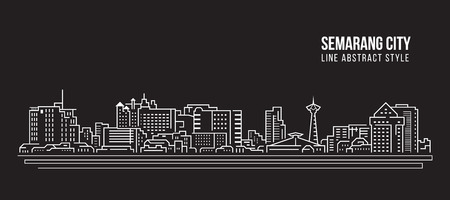 Cityscape Building Line art Vector Illustration design - Semarang city Ilustração