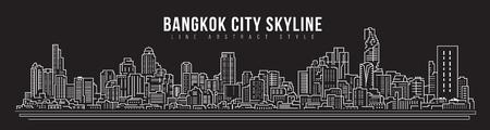 Cityscape Building skyline panorama Line art Illustration design - Bangkok city Stock Illustratie
