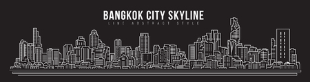 Cityscape Building skyline panorama Line art Illustration design - Bangkok city Ilustração
