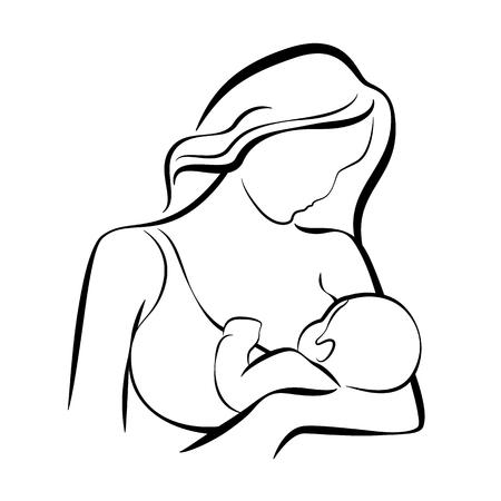 Mamma che allatta al seno bambino linea astratta disegno vettoriale Vettoriali