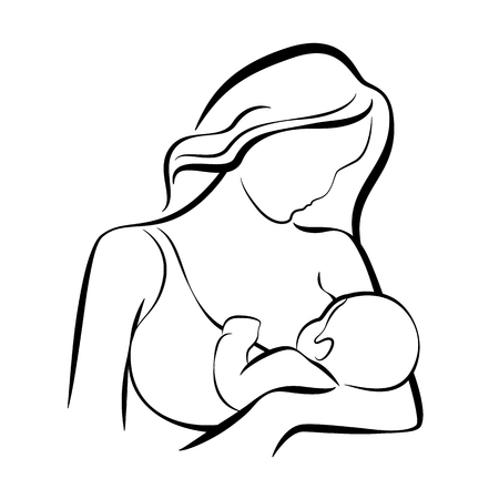 Mom Breastfeeding baby abstract line vector design