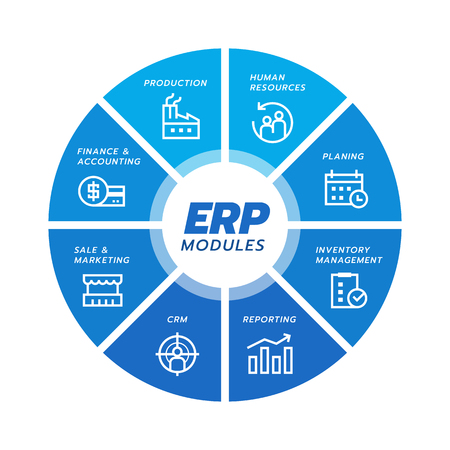 Icona del modulo di pianificazione delle risorse aziendali (ERP) Costruzione su disegno vettoriale di arte del diagramma di flusso del cerchio blu