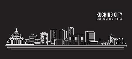 Progettazione dell'illustrazione di vettore di arte della linea della costruzione di paesaggio urbano - città di kuching Vettoriali