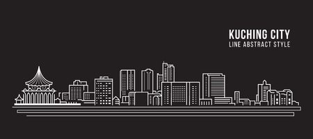Cityscape Building Line art Vector Illustration design - kuching city