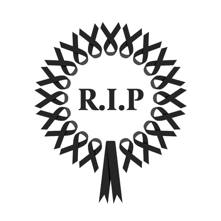 r.i.p wreat sign with black ribbon around circle vector design