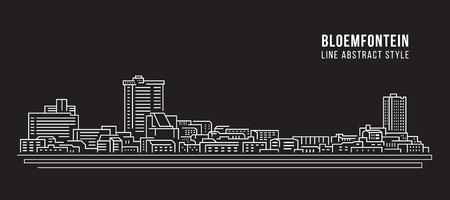 Cityscape Building Line art Vector Illustration design - Bloemfontein city
