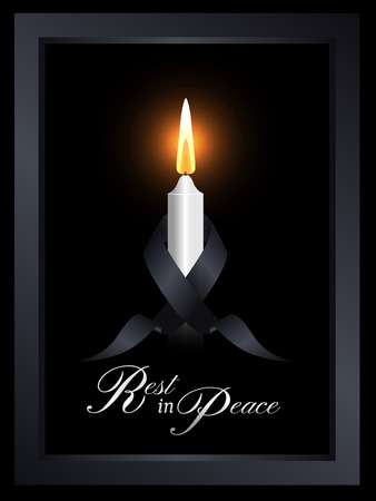 Mourning symbol with black ribbon around white candle light in frame on black background vector design