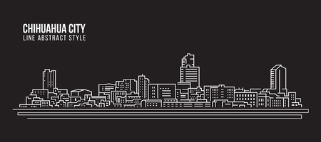Cityscape Building Line art Vector Illustration design - Chihuahua city