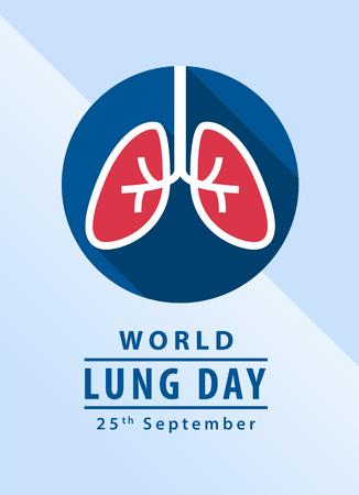 Banner di giornata mondiale del polmone con polmone in cerchio segno disegno vettoriale Vettoriali