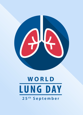 World lung day banner with lung in circle sign vector design Иллюстрация