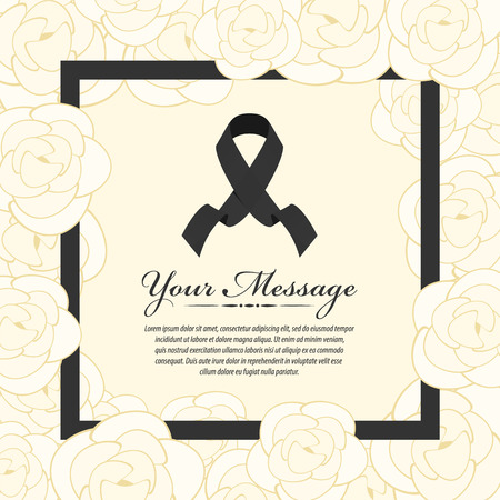 funeral card - Black ribbon and place for text in abstract white yellow rose and black frame vector design