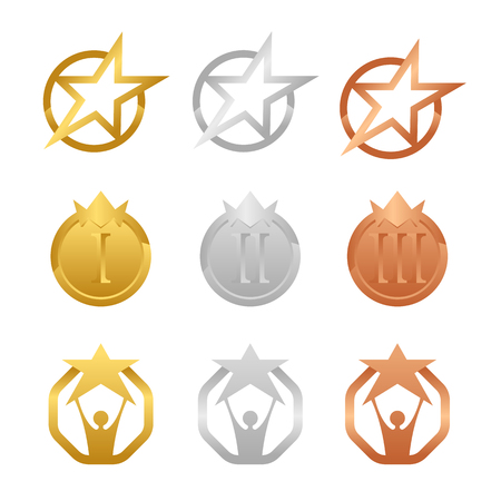 Gold, Silver And Bronze Award Medals with star and crown concept vector set design