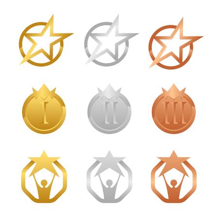 Medaglie d'oro, d'argento e di bronzo con scenografia vettoriale di concetto di stella e corona
