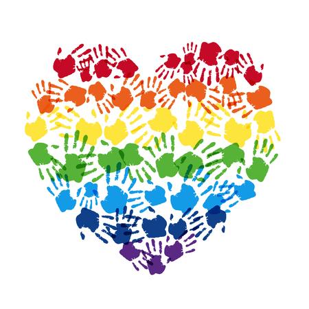 Huella digital de manos de color arco iris hacen signo de corazón para el diseño del vector del día del orgullo