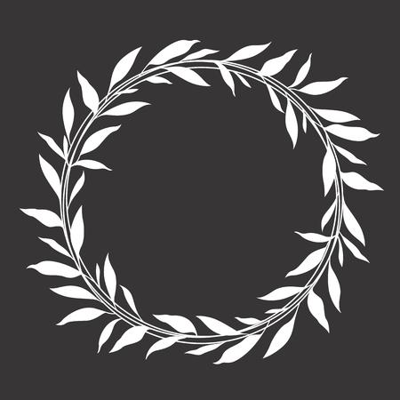Foglia bianca ghirlanda cerchio cornice disegno vettoriale Vettoriali