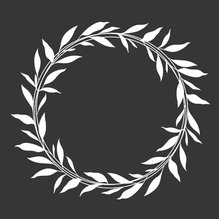 White leaf wreath circle frame vector design
