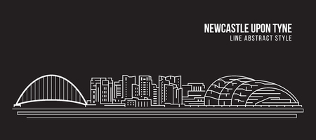 Cityscape Building Line art Vector Illustration design - Newcastle upon Tyne city
