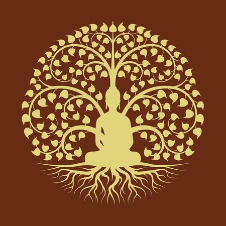 Buda de oro medita bajo el diseño de vector de estilo de signo de círculo de árbol Bodhi Foto de archivo - 108714514
