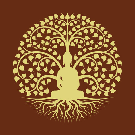 Gold buddha Meditate under Bodhi tree circle sign style vector design