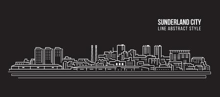Cityscape Building Line art Vector Illustration design - Sunderland city Illustration