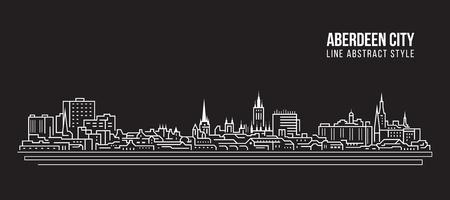 Cityscape Building Line art Vector Illustration design - Aberdeen city Illustration