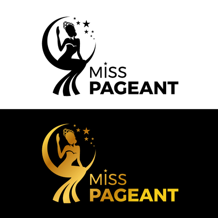 Miss lady pageant sign with Gold and black woman wear Crown sit on the moonn and star vector design 일러스트