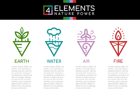 Nature 4 elements nature power with line border abstract triangle style sign icon sign. Water, Fire, Earth, wind. vector design