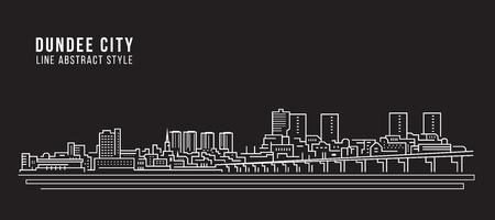 Cityscape Building Line art Vector Illustration design - Dundee city Vector Illustration