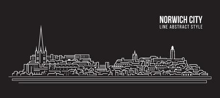 Cityscape Building Line art Vector Illustration design - Norwich city