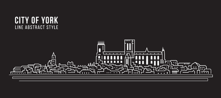 Cityscape Building Line art Vector Illustration design - city of York