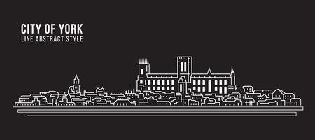 Cityscape Building Line art Vector Illustration design - city of York