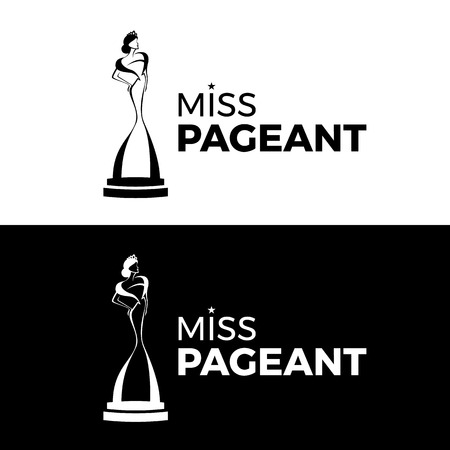 Miss  pageant logo with black and white tone woman wear Crown and dress stand on stage sign vector design