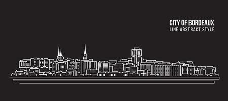 Paysage urbain Bâtiment Ligne art Vector Illustration Design - ville de Bordeaux Vecteurs