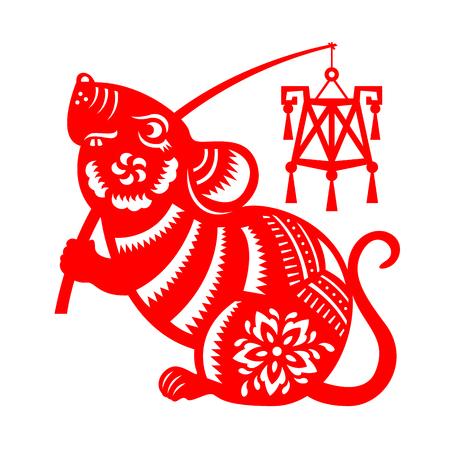 Czerwony papier wycięty szczur zodiaku przytrzymaj znak latarni izolować na białym tle wektor wzór