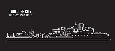 Cityscape Building Line art Vector Illustration design - Toulouse city