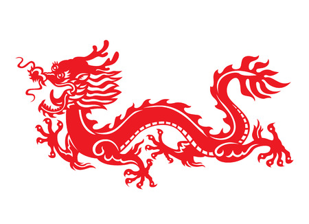 Red paper cut art China dragon sign vector design