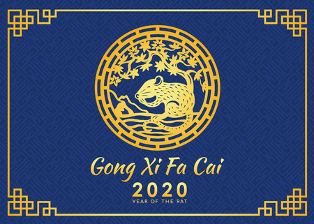 Happy chinese new year 2020 (Gong Xi Fa Cai) card with gold rat zodiac under tree circle sign and blue chinese texture background vector design Ilustração