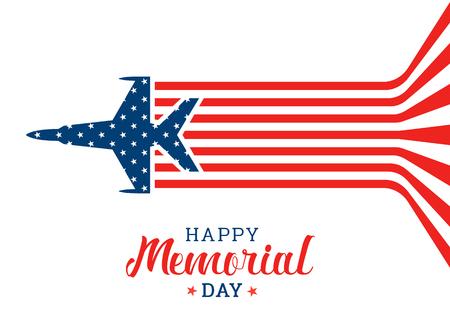 De gelukkige herdenkingsdagbanner met het vliegen van het Oorlogsvliegtuig maakt abstract vectorontwerp van de vlag van de VS.