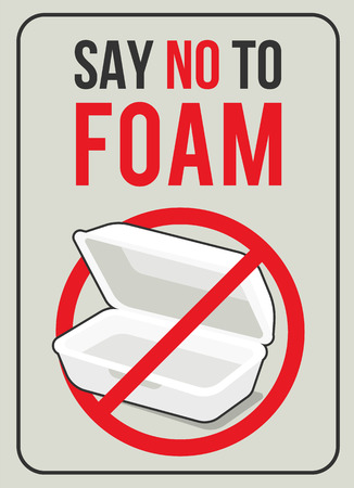 Say no to foam concept with foam food box in red stop circle sign vector design