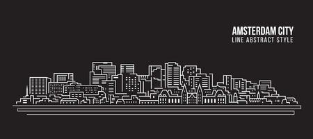 Cityscape Building Line art Vector Illustration design - Amsterdam city  イラスト・ベクター素材