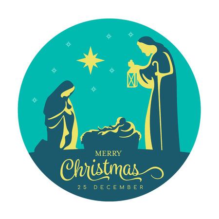 Frohes Weihnachtsbanner-Zeichen mit nächtlicher Weihnachtslandschaft Mary und Joseph in einer Krippe mit Jesuskind und Sternlicht im dunkelblauen Kreishintergrundvektorentwurf