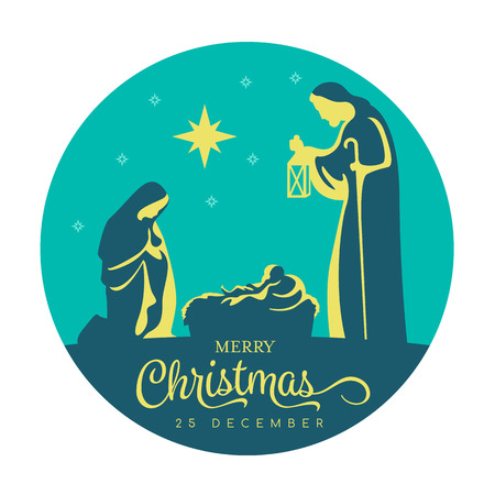 Merry Christmas banner sign with Nightly christmas scenery mary and joseph in a manger with baby Jesus and star light in navy blue circle background vector design