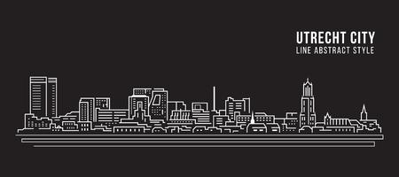 Cityscape Building Line art Vector Illustration design - Utrecht city Illustration