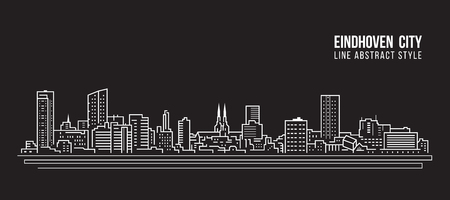 Cityscape Building Line art Vector Illustration design - Eindhoven city