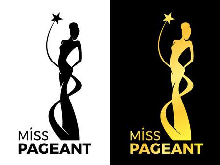 Il segno di Miss Lady Pageant con la regina indossa l'abito da sera e la stella intorno al disegno vettoriale di Lady Queen Vettoriali