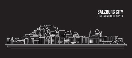 Cityscape Building Line art Vector Illustration design - ville de Salzbourg